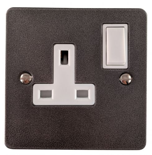 G&H FP9W Flat Plate Pewter 1 Gang Single 13A Switched Plug Socket